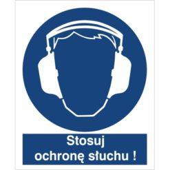 Znak stosuj ochronę słuchu nakaz używania ochrony słuchu do pracy piktogram bhp niebieski znak bhp sklep system znaki bezpieczeństwa i higieny pracy nauszniki ochronniki słuchu