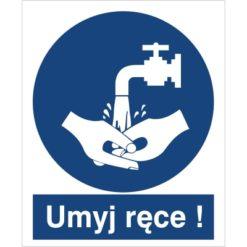 znak umyj ręce nakaz mycia rąk do pracy piktogram bhp niebieski znak bhp sklep system znaki bezpieczeństwa i higieny pracy