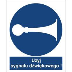 Znak użyj sygnału dźwiękowego nakaz używania klaksonu trąbienia do pracy piktogram bhp niebieski znak bhp sklep system znaki bezpieczeństwa i higieny pracy