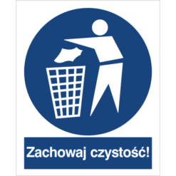 Znak zachowaj czystość do pracy piktogram bhp niebieski znak bhp sklep system znaki bezpieczeństwa i higieny pracy