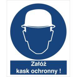 Znak Załóż kask ochronny nakaz używania ochrony głowy do pracy piktogram bhp niebieski znak bhp sklep system znaki bezpieczeństwa i higieny pracy hełm