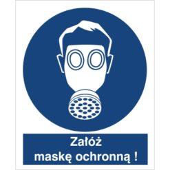 Znak Załóż maskę ochronną do pracy piktogram bhp niebieski znak bhp sklep system znaki bezpieczeństwa i higieny pracy stosuj ochronę dróg oddechowych