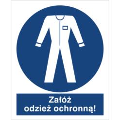 Znak Załóż Odzież Ochronną do pracy piktogram bhp niebieski znak bhp sklep system znaki bezpieczeństwa i higieny pracy