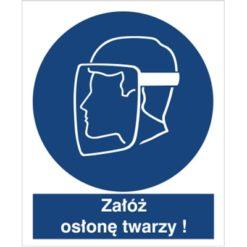 Znak załóż osłonę twarzy nakaz używania osłony twarzy do pracy piktogram bhp niebieski znak bhp sklep system znaki bezpieczeństwa i higieny pracy stosuj ochronę twarzy