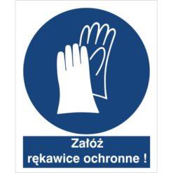 Znak załóż rękawice ochronne nakaz używania ochrony rąk do pracy piktogram bhp niebieski znak bhp sklep system znaki bezpieczeństwa i higieny pracy stosuj ochronę rąk