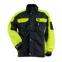 Bluza robocza URGENT URG-Y czarno-żółta kurtka lekka do pracy ochronna dla pracowników długi rękaw odzież bhp sklep system internetowy ze stójką zapinana na suwak 9 kieszeni cienka żółta czarna