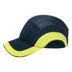 Hełm ochronny lekki REIS BUMPCAPMOVE GY do pracy roboczy lekki czapka z wkładką twarda środki ochrony indywidualnej antyskalpowy hełm kask z daszkiem bhp sklep system bejsbolówka raw-pol granatowa żółta