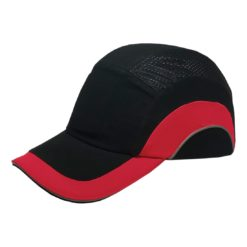 Hełm ochronny lekki REIS BUMPCAPMOVE BC do pracy roboczy lekki czapka z wkładką twarda środki ochrony indywidualnej antyskalpowy hełm kask z daszkiem bhp sklep system bejsbolówka raw-pol czarna czerwona