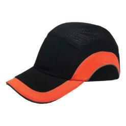Hełm ochronny lekki REIS BUMPCAPMOVE BP do pracy roboczy lekki czapka z wkładką twarda środki ochrony indywidualnej antyskalpowy hełm kask z daszkiem bhp sklep system bejsbolówka raw-pol czarna pomarańczowa
