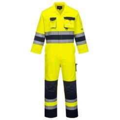Kombinezon ostrzegawczy PORTWEST TX55 Nantes ubranie jednoczęściowe wysokie widoczności uniform odblaskowy do pracy odzież ochronna z kontrastem pasy odblaskowe dla drogowców sklep bhp system insternetowy odzież do pracy żółty granatowy