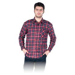 Koszula flanelowa robocza REIS KF-gc do pracy ochronna bhp sklep system odzież dla pracowników lekka na guziki z kieszenią wytrzymała granatowa czerwona