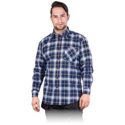 Koszula flanelowa robocza REIS KF-gn do pracy ochronna bhp sklep system odzież dla pracowników lekka na guziki z kieszenią wytrzymała granatowa niebieska