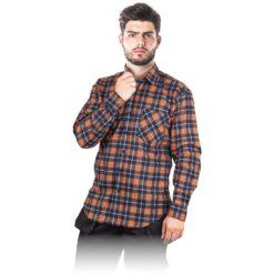 Koszula flanelowa robocza REIS KF-gp do pracy ochronna bhp sklep system odzież dla pracowników lekka na guziki z kieszenią wytrzymała granatowa pomarańczowa