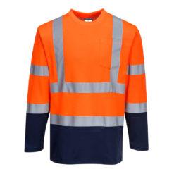 Koszulka ostrzegawcza z długim rękawem PORTWEST S280 do pracy ochronna wysokiej widoczności dla drogowców lekka na wiosnę dwukolorowa z pasami odblaskowymi odzież ochronna robocza dla pracowników bhp sklep system internetowy pomarańczowa granatowa