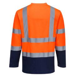 Koszulka ostrzegawcza z długim rękawem PORTWEST S280 do pracy ochronna wysokiej widoczności dla drogowców lekka na wiosnę dwukolorowa z pasami odblaskowymi odzież ochronna robocza dla pracowników bhp sklep system internetowy pomarańczowa granatowa tył