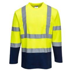 Koszulka ostrzegawcza z długim rękawem PORTWEST S280 do pracy ochronna wysokiej widoczności dla drogowców lekka na wiosnę dwukolorowa z pasami odblaskowymi odzież ochronna robocza dla pracowników bhp sklep system internetowy żółta granatowa