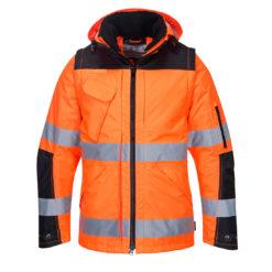 Kurtka ostrzegawcza PORTWEST C469 do pracy ochronna robocza wysokiej widoczności dla drogowców odblaskowa bhp sklep system odzież robocza ochronna wodoodporna ocieplana całoroczna z kapturem pomarańczowa czarna