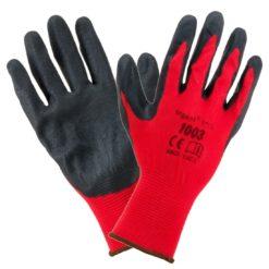 Rękawice robocze URGENT 1003 do pracy ochronne wytrzymałe powlekane rękawiczki oblewane gumą odporne dzianinowe z powleczeniem bhp sklep internetowy system czerwone czarne środki ochrony dla pracowników mocne