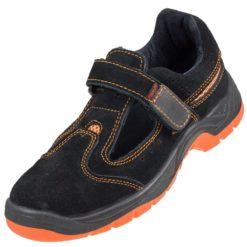 Sandały robocze URGENT 304 SB sandały odkryte na rzep ochronne bhp sklep system internetowy obuwie do pracy bezpieczne skórzane skórkowe z podnoskiem z blachą stalkapy twardy nosek antypoślizgowe czarne pomarańczowe