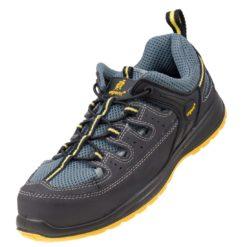 Sandały robocze URGENT 310 S1 do pracy ochronne bezpieczne obuwie bhp sklep system skórzane skórkowe siateczkowe przewiewne z blachą podnoskiem noskiem metalowym stalkapy szare niebieskie żółte antypoślizgowe
