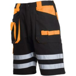 Spodenki ostrzegawcze LAHTI PRO L40706 spodnie robocze odblaskowe krótkie letnie na lato lekkie bawełniane oddychające wysokiej widoczności dla drogowców odzież bhp dla pracowników mocne sklep bhp system internetowy czarne pomarańczowe przód