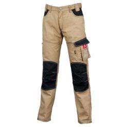 Spodnie robocze URGENT URG-D do pracy ochronne w pas do pasa bhp system sklep internetowy wytrzymałe odporne na rozdarcie z kieszeniami beżowe khaki piaskowe ze wstawkami czarnymi tanie odzież dla pracowników