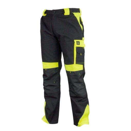 Spodnie robocze URGENT URG-Y czarno-żółte do pracy ochronne bhp sklep system internetowy wytrzymałe odporne w pas do pasa z kieszeniami na nakolanniki ostrzegawcze czarne żółte
