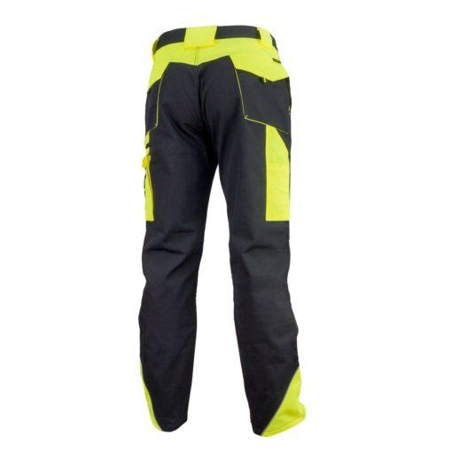 Spodnie robocze URGENT URG-Y czarno-żółte do pracy ochronne bhp sklep system internetowy wytrzymałe odporne w pas do pasa z kieszeniami na nakolanniki ostrzegawcze czarne żółte tył