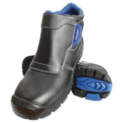 Trzewiki ochronne spawalnicze REIS BCH-DREZNO S3 wytrzymałe wysokie jakości buty ochronne bezpieczne dla spawaczy trudnopalne zakryte do pracy bhp z podnoskiem wkładka antyprzebiciowa skórzane skórkowe czarne niebieskie antypoślizgowe system bhp sklep raw pol