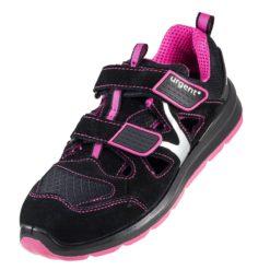 Damskie sandały robocze URGENT 307 dla kobiet obuwie bezpieczne przewiewne skórzane skórkowe do pracy z podnoskiem noskiem blachą stalkapy na rzepy antypoślizgowe antyelektrostatyczne lekkie obuwie bhp sklep system internetowy czarne różowe