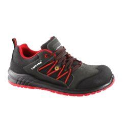 Buty robocze LAHTI PRO L30423 S1 ESD obuwie bezpieczne do pracy zamszowe skórzane z podnoskiem noskiem twardym kompozytowym metal free esd antystatyczne antyelektrostatyczne antypoślizgowe adidasy dla pracowników wygodne szare czarne czerwone bok