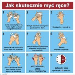 Naklejka Instrukcja Mycia Rąk do pracy dla pracowników coronavirus koronawirus instrukcja bhp mycie dłoni