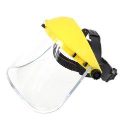 Osłona twarzy LAHTI PRO L1520600 przylbica szyba poliwęglan ochronna przeciwodpryskowa mocna plastikowa z szybą ochronna na chemikalia laboratoryjna bhp sklep system internetowy żółta przezroczysta przód