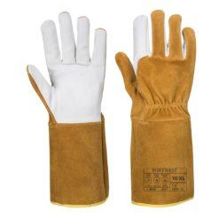 Rękawice spawalnicze PORTWEST A521 TIG Ultra do pracy ochronne robocze wysokiej jakości skóra kozia dwoina wytrzymałe trudnopalne dla spawacza mocne brązowe białe bhp sklep system internetowy środki ochrony indywidualnej
