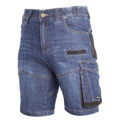 Spodenki robocze LAHTI PRO L40707 Jeansowe do pracy ochronne szorty bermudy krótkie spodnie robocze do pracy dla pracowników dżinsowe jeansowe wytrzymałe slim odporne na przetarcia na guzik 12 kieszeni niebieskie bhp sklep system internetowy odzież robocza przód