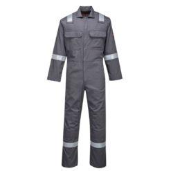 Kombinezon trudnopalny Bizweld Portwest BIZ5 Ostrzegawczy odblaskowy trudnopalny spawalniczy bawełniany odzież robocza ubranie spawacza ognioodporne z odblaskami szary
