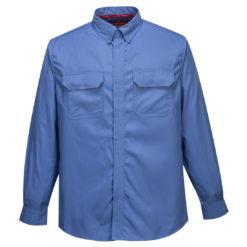 Koszula trudnopalna PORTWEST FR69 do pracy robocza bhp spawalnicza dla spawacza trudnopalna na przepalenie z kołnierzykiem odzież ochronna 3 kategorii z mankietami niebieska przód
