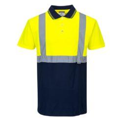 Koszulka polo ostrzegawcza PORTWEST S479 do pracy wysokiej widoczności z kontrastem dwukolorowa odblaskowa pasy odblaskowe na krótki rękaw polówka z kołnierzykiem dla drogowców odzież robocza bhp sklep system internetowy dla pracowników ochronna żółta granatowa