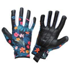 Rękawice robocze damskie LAHTI PRO L2726 skórzane skórkowe do pracy ochronne bhp sklep system internetowy miękkie ze wzorem w kwiatki na rzep dopasowane środki ochrony indywidualnej czarne niebieskie różowe do ogrodu