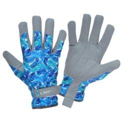 Rękawice robocze damskie LAHTI PRO L2727 wygodne skórzane skórkowe ekoskóra mikrofibra warsztatowe ogrodowe wytrzymałe na rzep kwiatowe kolorowe ochronne sklep system bhp internetowy niebieskie błękitne szare