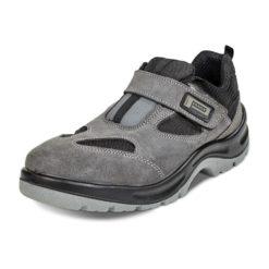 Sandały robocze PANDA AUGE S1 SRC do pracy wytrzymałe skórzane na magazyn przewiewne na lato bhp sklep system internetowy z noskiem podnoskiem kompozytowym bez metalu na rzep szare