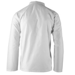 Bluza rozpinana męska KRAJAN BIEL HACCP Biała ochronna bhp sklep system internetowy dla piekarzy piekarska przemysł spożywczy zapinana na napy wygodne przewiewna bawełniana spożywka haccp długi rękaw biała tył