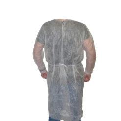 Fartuch ochronny jednorazowy wiązany polipropylenowy wytrzymały do szpitala na plecach wiązany bhp sklep system internetowy ściągacze w nadgarstkach polipropylen biały tył