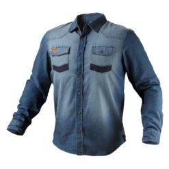 Koszula robocza NEO TOOLS 81-549 ochronna bhp z guzikami na guziki do pracy odzież bhp sklep system internetowy jersey dżinsowa jeansowe bawełniana oddychająca niebieska granatowa