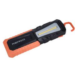 Latarka inspekcyjna PORTWEST PA78 USB do pracy dla mechanika światło z podstawą magnetyczną magnes obracana jasna wytrzymała odporna na upadek bhp sklep system internetowy pomarańczowa czarna