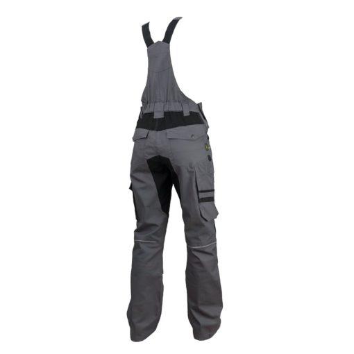Ogrodniczki robocze URGENT URG-S2 szwedy szwedzkie spodnie bhp sklep system internetowy z szelkami na szelkach wytrzymałe z kieszeniami ubranie robocze dla pracownika odzież ochronna szare grafitowe czarne tył