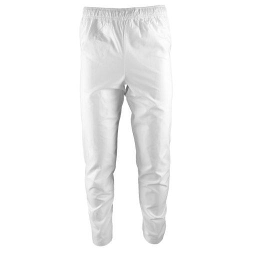 Spodnie piekarskie KRAJAN BIEL HACCP Białe robocze ochronne bhp dla piekarzy dla przemysłu spożywczego białe długie bawełniane oddychające przewiewne odzież dla pracowników bhp sklep system internetowy dresowe elastyczny pas białe przód