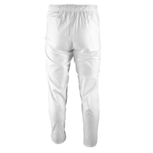 Spodnie piekarskie KRAJAN BIEL HACCP Białe robocze ochronne bhp dla piekarzy dla przemysłu spożywczego białe długie bawełniane oddychające przewiewne odzież dla pracowników bhp sklep system internetowy dresowe elastyczny pas białe tył