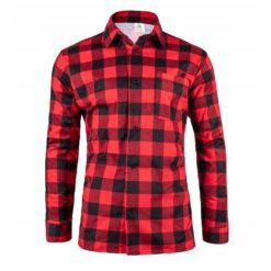 Robocza Koszula Flanelowa Czerwona 100% Bawełna bawełniana do pracy ochronna dla pracowników w kratę zapinana na guziki odzież robocza dla pracowników bhp sklep system internetowy czerwona czarna kratownica z kołnierzykiem polska produkcja