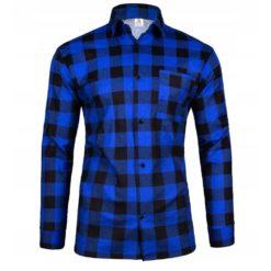 Robocza Koszula Flanelowa niebieska 100% Bawełna bawełniana do pracy ochronna dla pracowników w kratę zapinana na guziki odzież robocza dla pracowników bhp sklep system internetowy niebieska czarna kratownica z kołnierzykiem polska produkcja